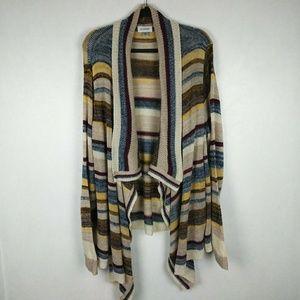Avenue Striped Open Cardigan